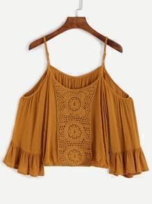 Yellow Cold Shoulder Crochet Blouse