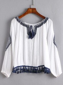White Lace Up Fringe Embroidered Blouse