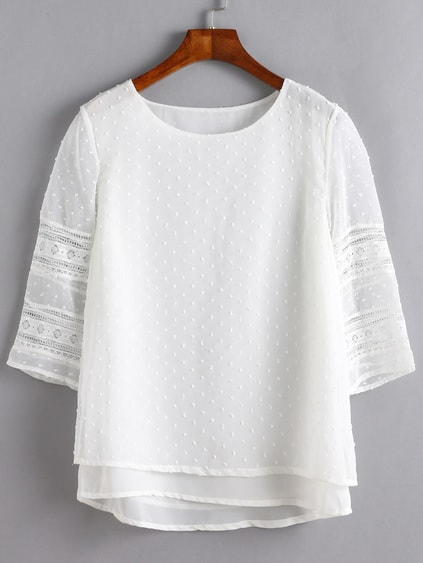 White Lace Insert Hollow Out Overlay Blouse