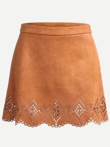Khaki Scalloped Eyelet A-Line Suede Skirt