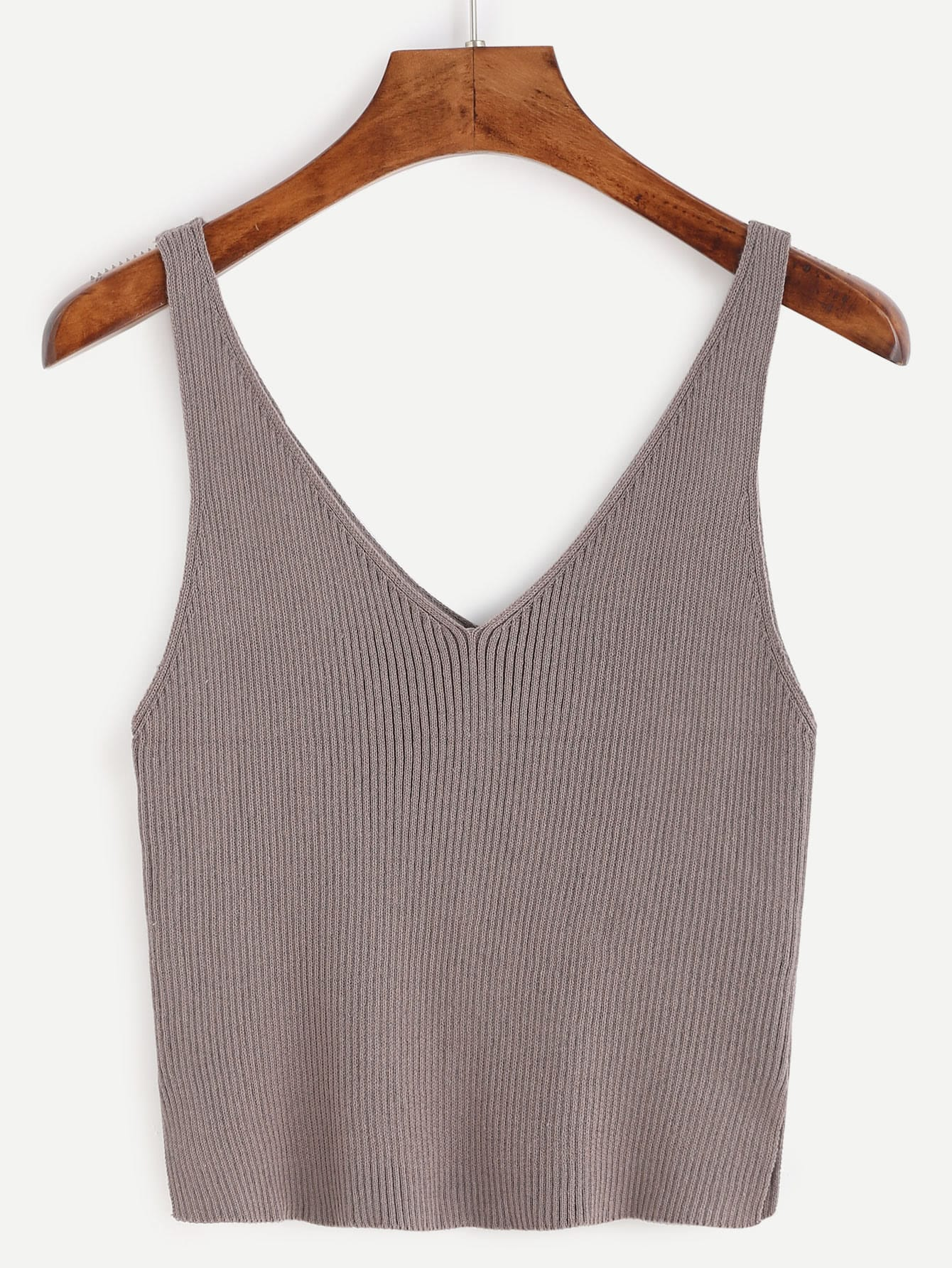 Deep V Neck Ribbed Knit Tank Top