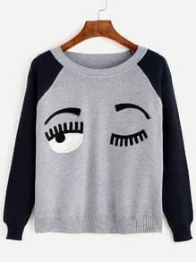 Contrast Eye Patch Raglan Sweater