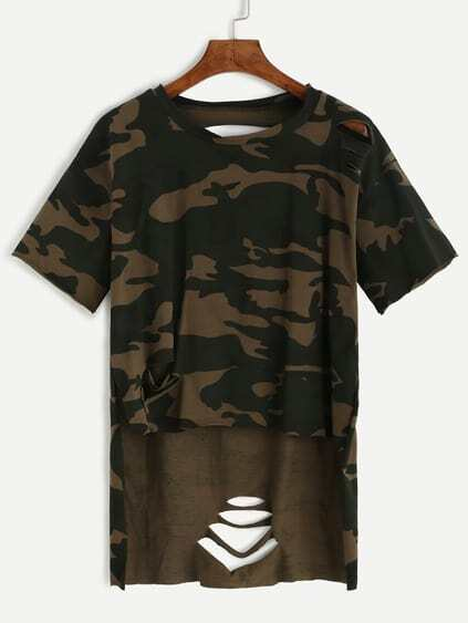 Camo Print High Low Distressed T-shirt