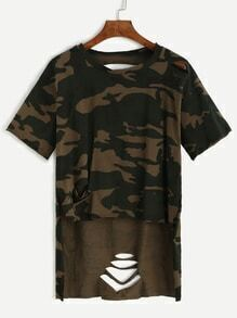 Buy Camo Print High Low Distressed T-shirt