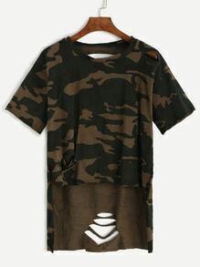 T-Shirt im Usedlook Vorne Kurz Hinten Lang