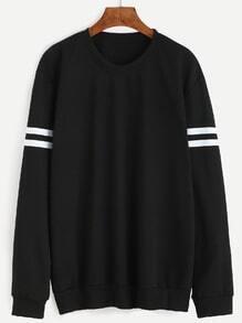 Sweat-shirt col rond manche longue à rayure - noir