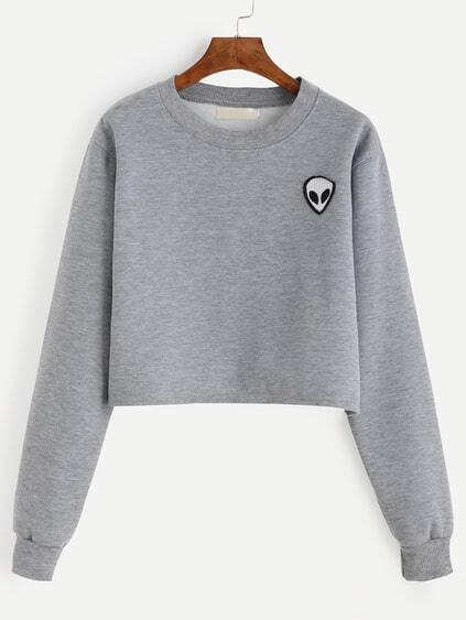 kurzes Sweatshirt mit Alien Patch - grau