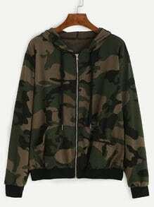 Blouson imprimé camouflage avec capuche et zip