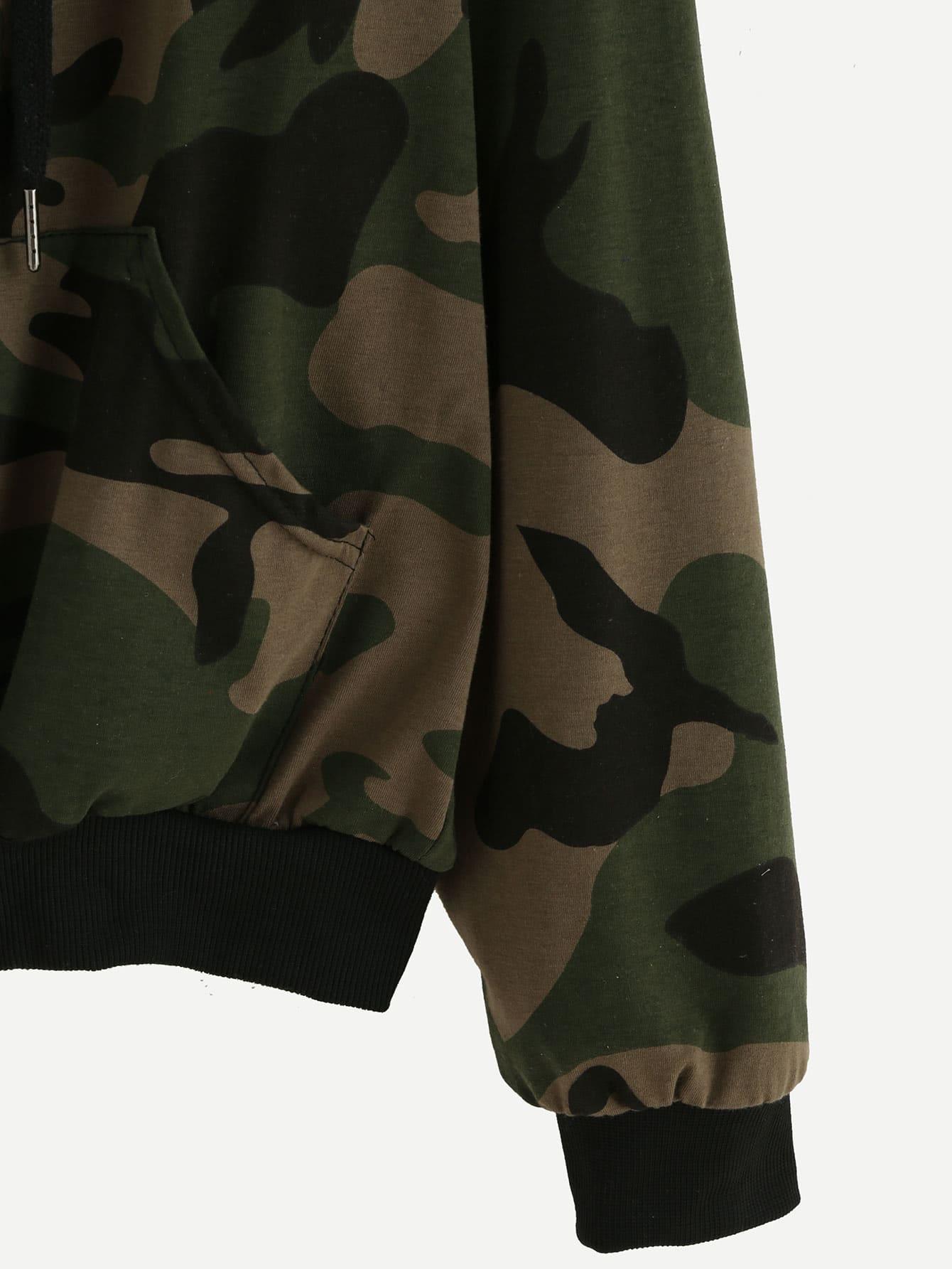 blouson imprim camouflage avec capuche et zip french romwe. Black Bedroom Furniture Sets. Home Design Ideas