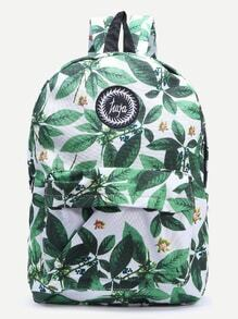 Green Leaf Print Embroidered Canvas Backpack