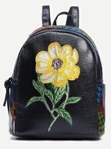 Black Flower Patch Animal Print Backpack