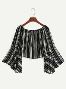 Vertical Striped Bell Sleeve Boat Neck Top