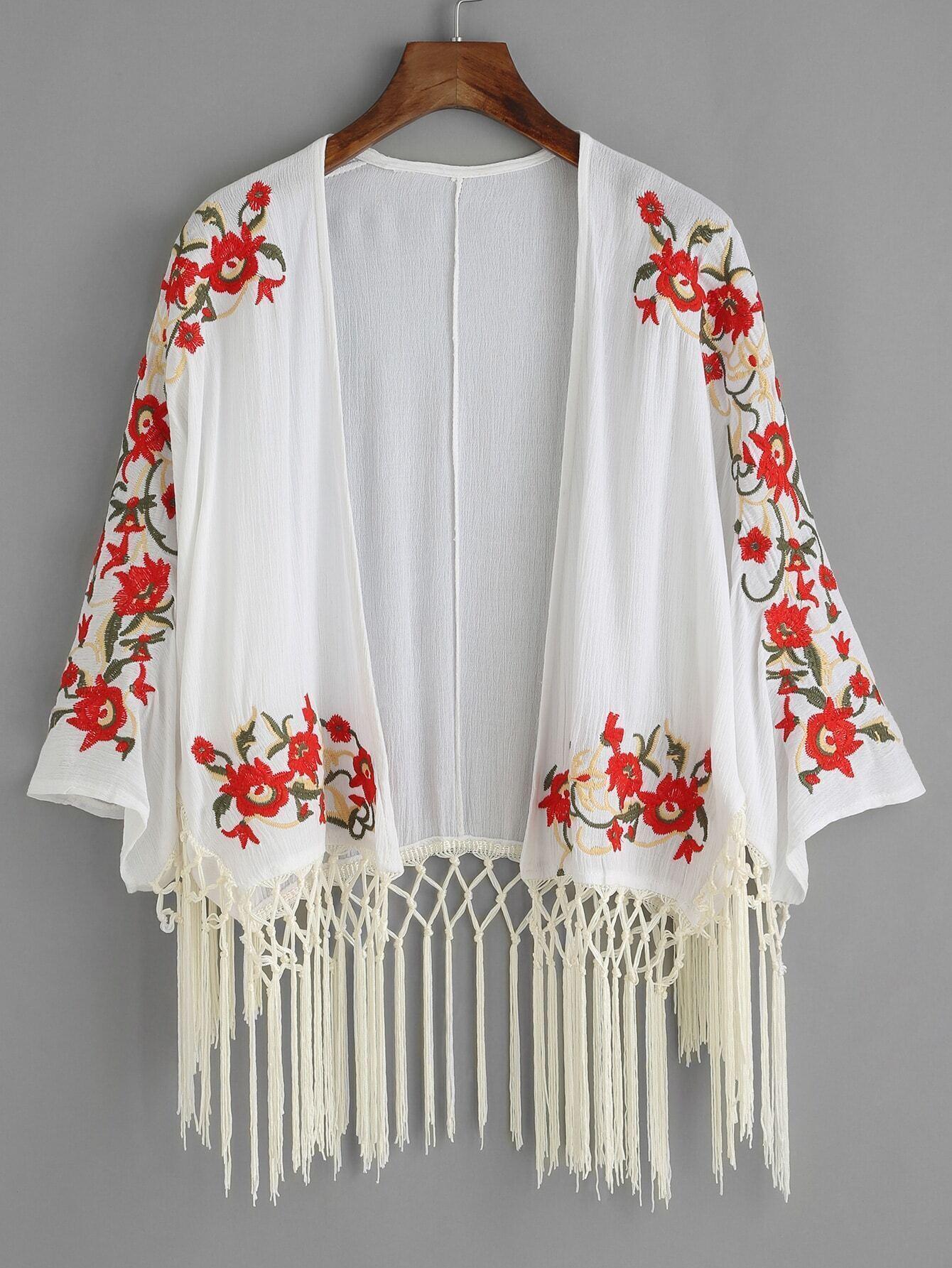 White floral embroidered fringe kimono