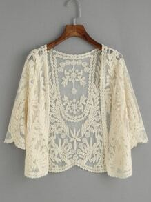 Beige Embroidered Mesh Top