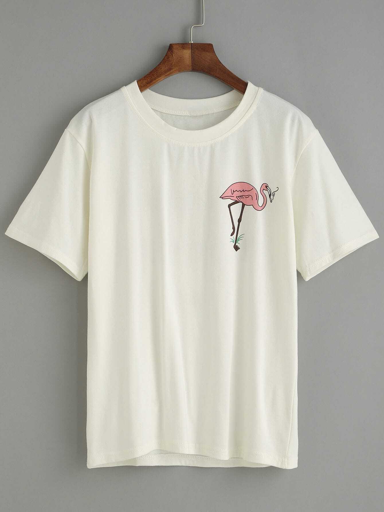 White Flamingo Print T Shirtfor Women Romwe