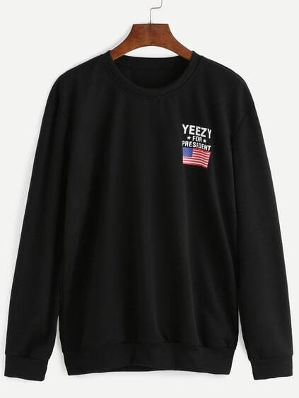 Black American Flag And Letter Print Sweatshirt