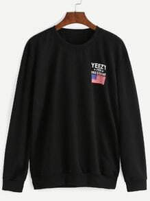 Sweatshirt mit USA Flagge und Buchstaben Druck - schwarz