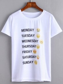 T-shirt imprimé emoji manche courte - blanc