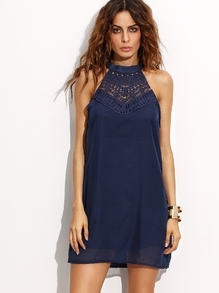 Navy Halter Crochet Insert Keyhole Back Dress