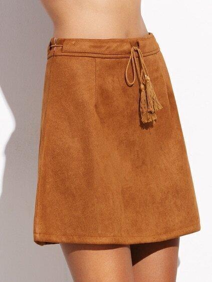 camel faux suede tassel tie a line skirt