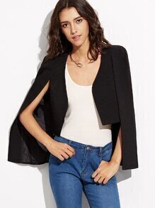 Black Cape Sleeve High Low Blazer
