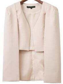 Apricot Cape Sleeve High Low Blazer
