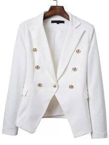 White Double Breasted Notch Lapel Blazer
