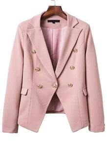 Pink Double Breasted Notch Lapel Blazer