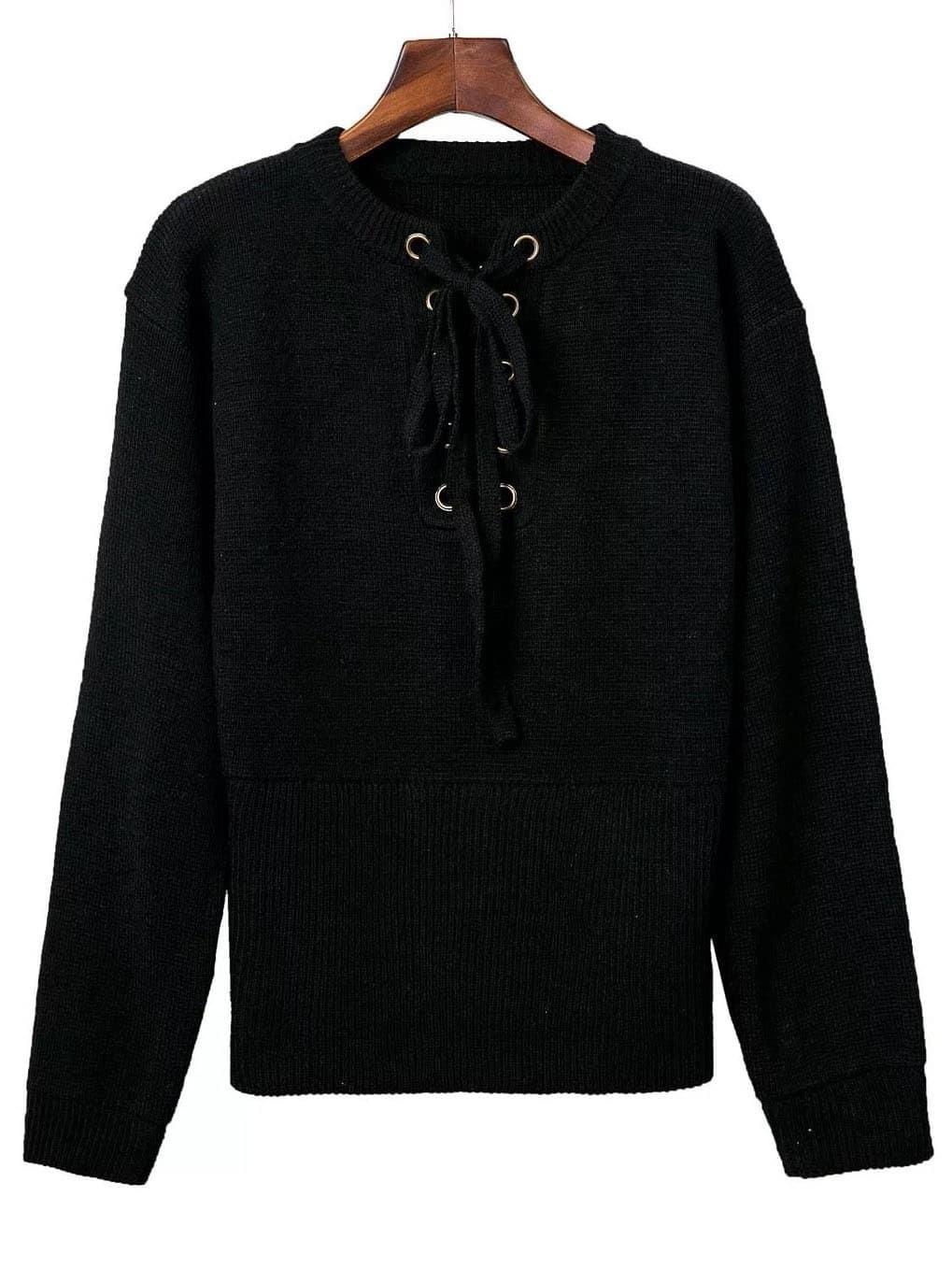Black Ribbed Cuff Wide Hem Lace Up Sweater
