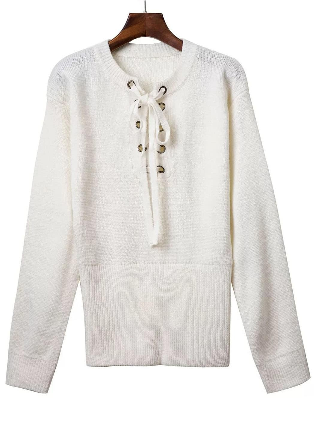 White Ribbed Cuff Wide Hem Lace Up Sweater