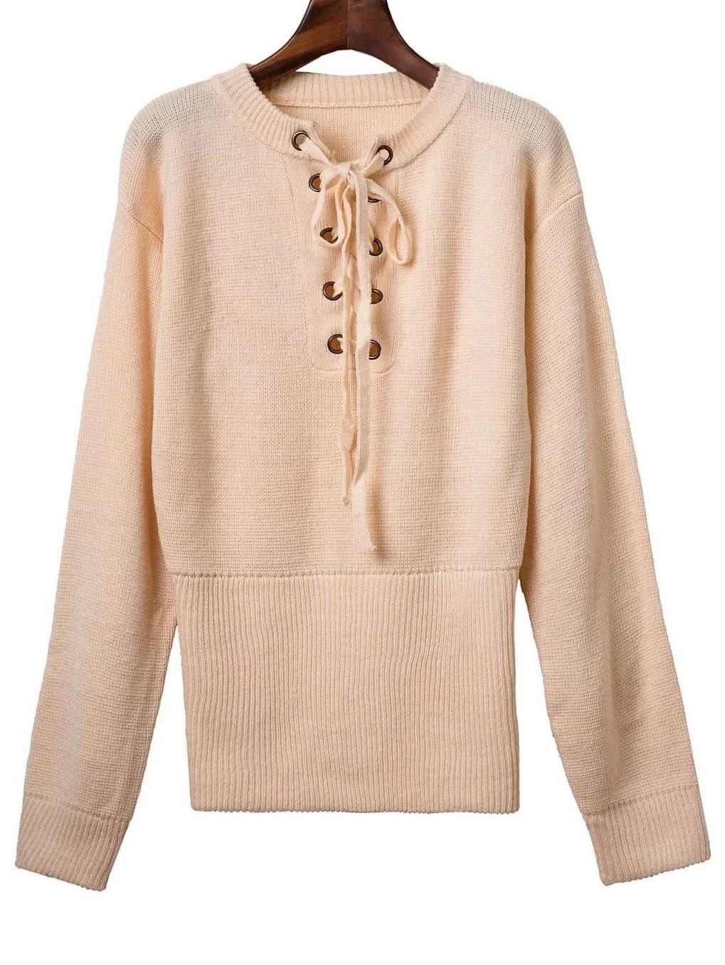 Khaki Ribbed Cuff Wide Hem Lace Up Sweater