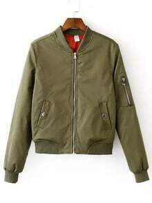 Army Green Zipper Bomber Jacket With Arm Pocket