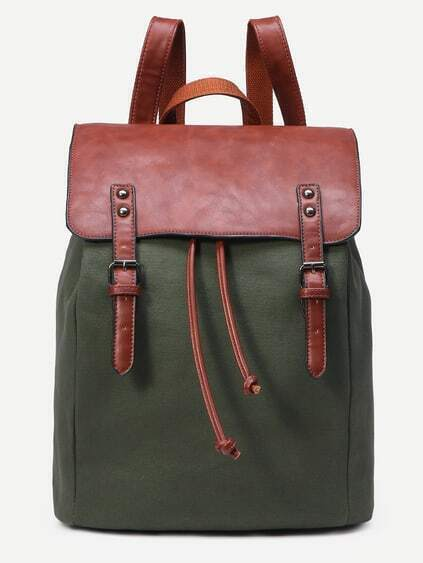 Green Canvas Contrast Faux Leather Dual Buckle Flap Backpack