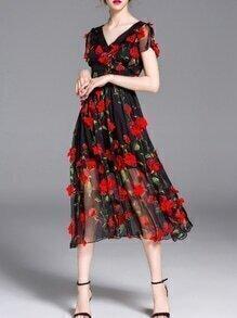 Black V Neck Applique Elegant Midi Dress