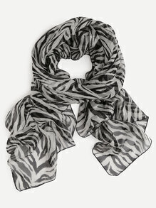 Black And White Zebra Print Silk Scarf