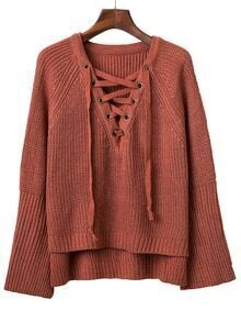 Maroon V Neck Lace Up Raglan Sleeve Sweater