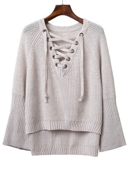 Grey V Neck Lace Up Raglan Sleeve Sweater