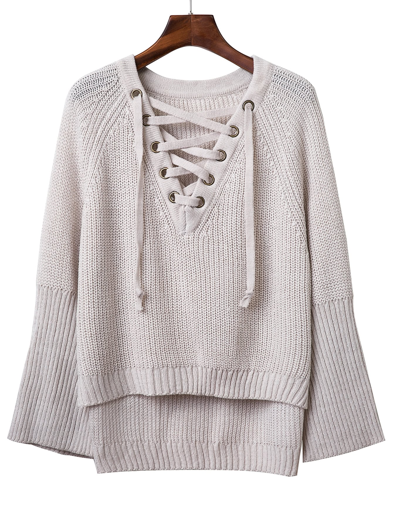 Grey V Neck Lace Up Raglan Sleeve SweaterFor Women-romwe