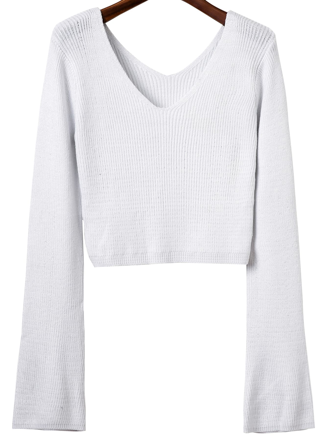 White Double V Back Ribbed Knit Sweater sweater160806211