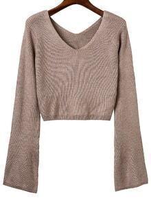 Khaki Double V Back Ribbed Knit Sweater