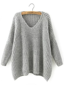 Light Grey V Neck Batwing Sleeve Loose Sweater