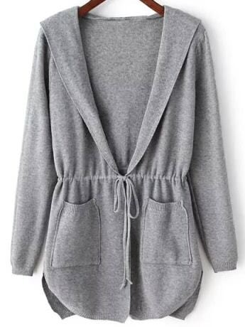 Grey Hooded Long Sleeve Pockets Cardigan - $27.99