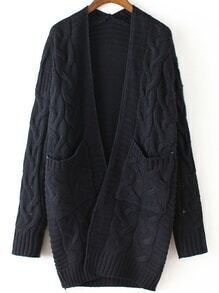 Navy Long Sleeve Cable Knit Pockets Cardigan