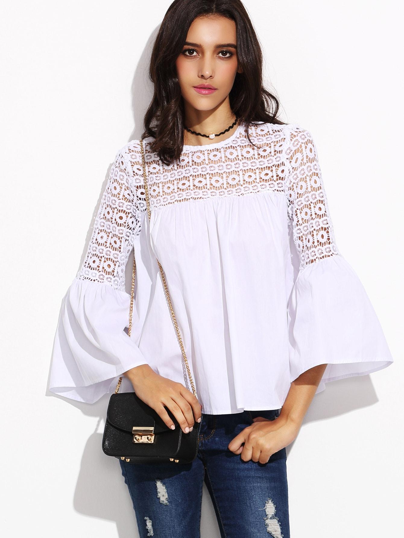White Lace Insert Cutout Back Bell Sleeve Topfor Women Romwe