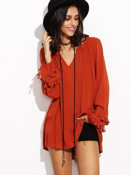 Orange V Neck Fringe Trim Dip Hem Top