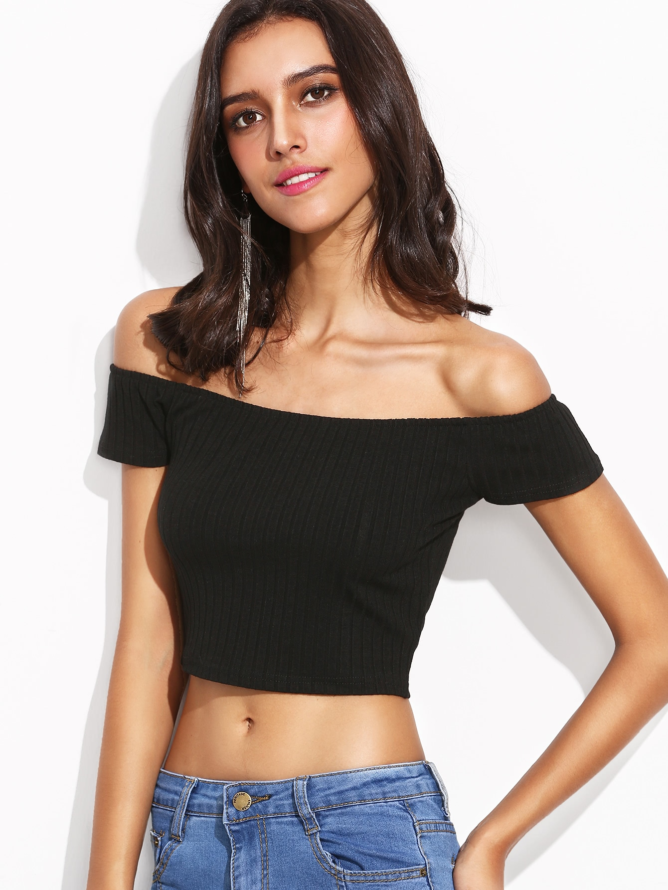 Black Off The Shoulder Ribbed Crop T-shirt