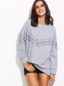 Grey Drop Shoulder Tassel Trim Sweatshirt