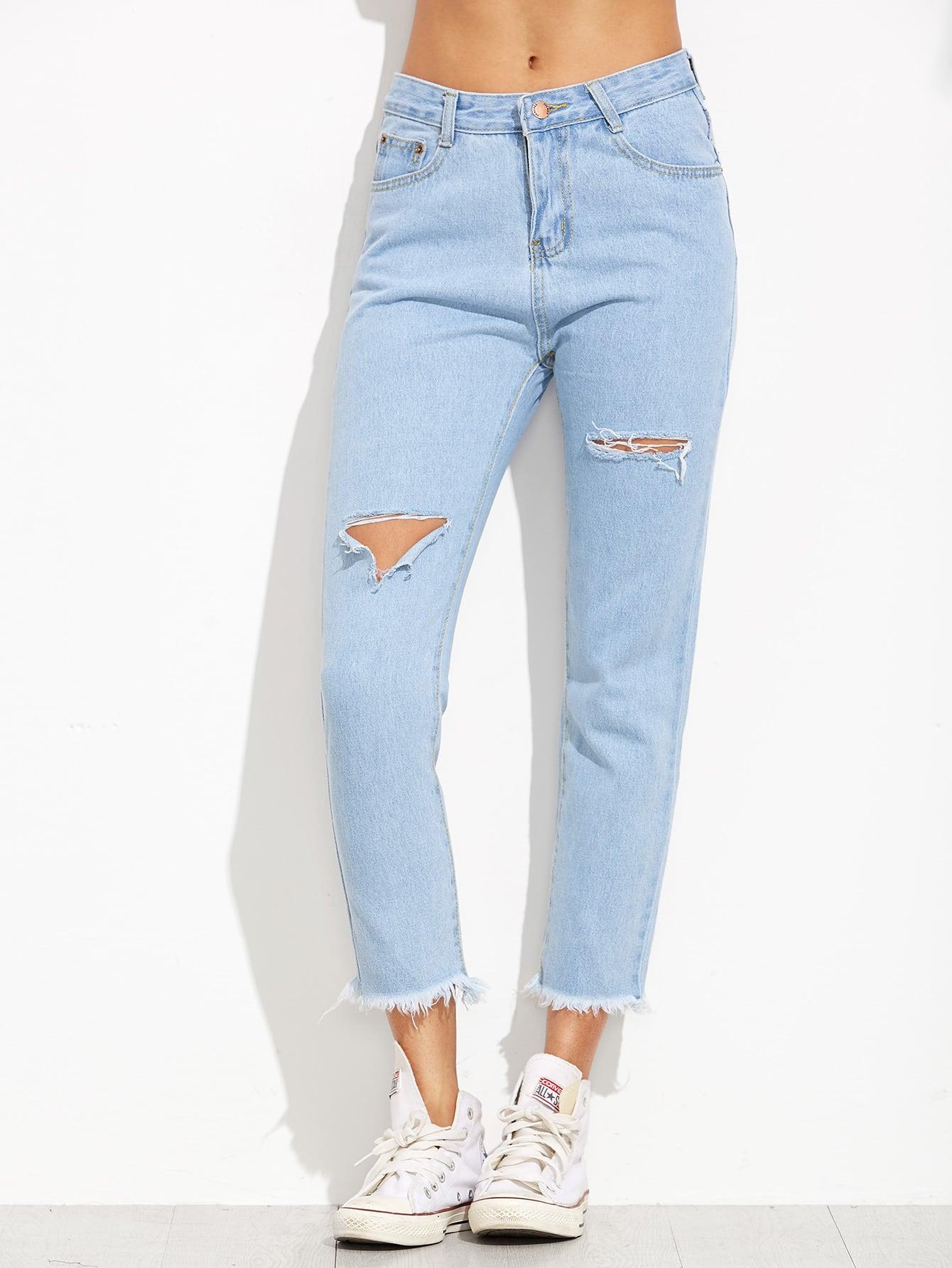 Blue Ripped Raw Hem Jeans