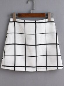 Black And White Grid A Line Skirt