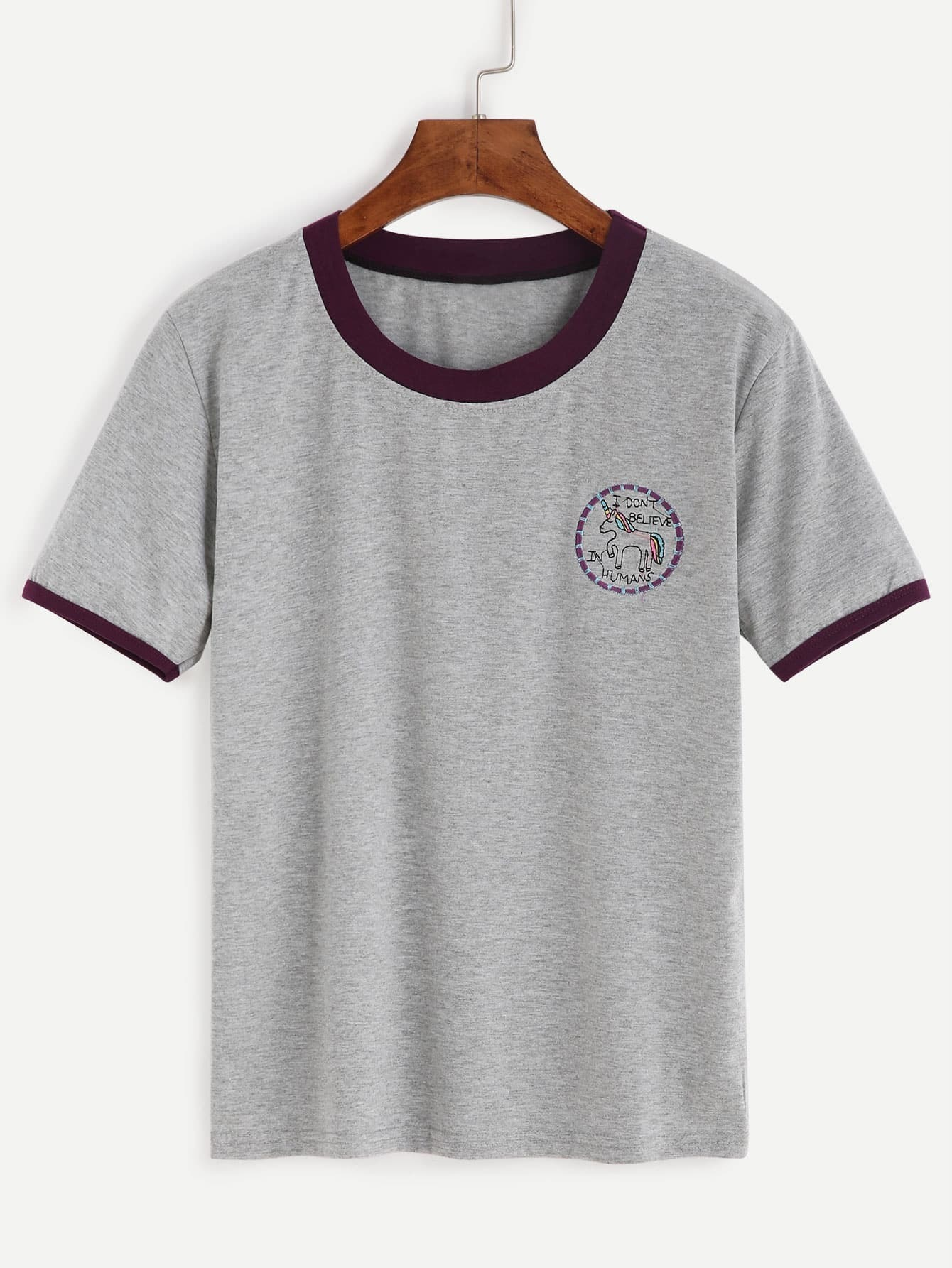 Grey contrast trim embroidered t shirtfor women romwe